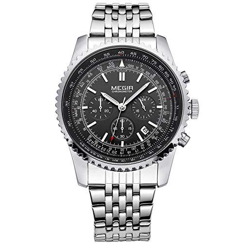 Reloj para Hombre Reloj de Cuarzo analógico de Acero Inoxidable Resistente al Agua Hombre -C