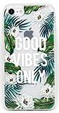 Coovertify Pack Funda Transparente Good Vibes Only iPhone 5/5S/SE, Carcasa de Gel Silicona con Dibujo Estampado + Protector de Pantalla de Cristal Templado para Apple iPhone 5 5S SE