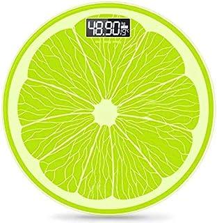 Básculas Electrónicas De Precisión Para El Hogar, Básculas Para Adultos, Hombres Y Mujeres Sanos Que Pesen Básculas Humanas 28 * 28cm Escala redonda de limón [Modelo de batería]