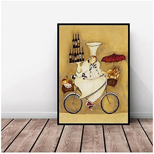 Impresión en lienzo Arte abstracto del chef de dibujos animados con bicicleta Pinturas en lienzo Carteles e impresiones Imágenes artísticas de pared Decor habitación de los niños 40x50cm Sin marco