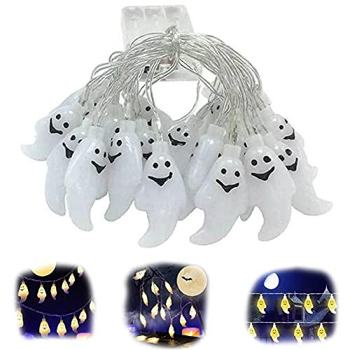 Cadena de luces LED para Halloween, calabaza, fantasma, 3 m, 20 ledes, calabaza, fantasma, para exterior, Navidad, camino, jardín, fiesta, paisajismo (color blanco)