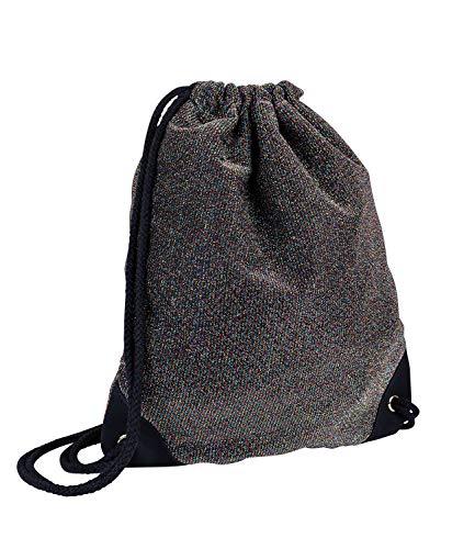 SIX Rucksack, Sportbeutel in schwarz mit eingewebtem bunten Glitzer, Schwarze Kordelnzug, verstärkte Ecken in Velourslederoptik (726-752)