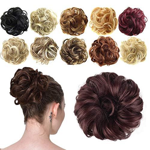 Preisvergleich Produktbild Feshfen Haargummi-Haarteil,  für Haarknoten / Pferdeschwanz,  Haarverlängerung,  gewellt,  unordentlicher Haarknoten,  Dutt,  Hochfrisur,  Haarteil,  A13 - Dark Auburn 33