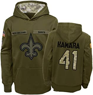 Dunbrooke Apparel New Orleans Saints #41 Alvin Kamara Salute to Service Youth Hoodie - Olive