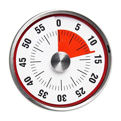 Basics Temporizador magnético mecánico Acero inoxidable Temporizador mecánico de cocina Imán 60 minutos Cuenta regresiva Reloj de cocina Alarma Time-Red 8cm