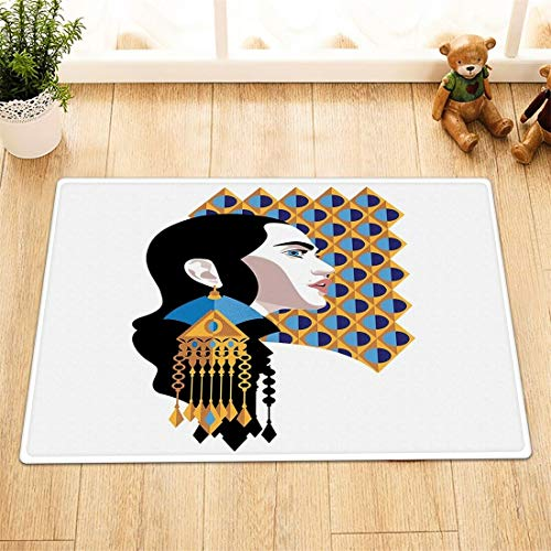 Lumengqi Exotic beautiful girl lady gold earring jewelry Home decoration door front mat,bathroom mat,non-slip and easy to clean,high-definition pattern50x80cm,family essential