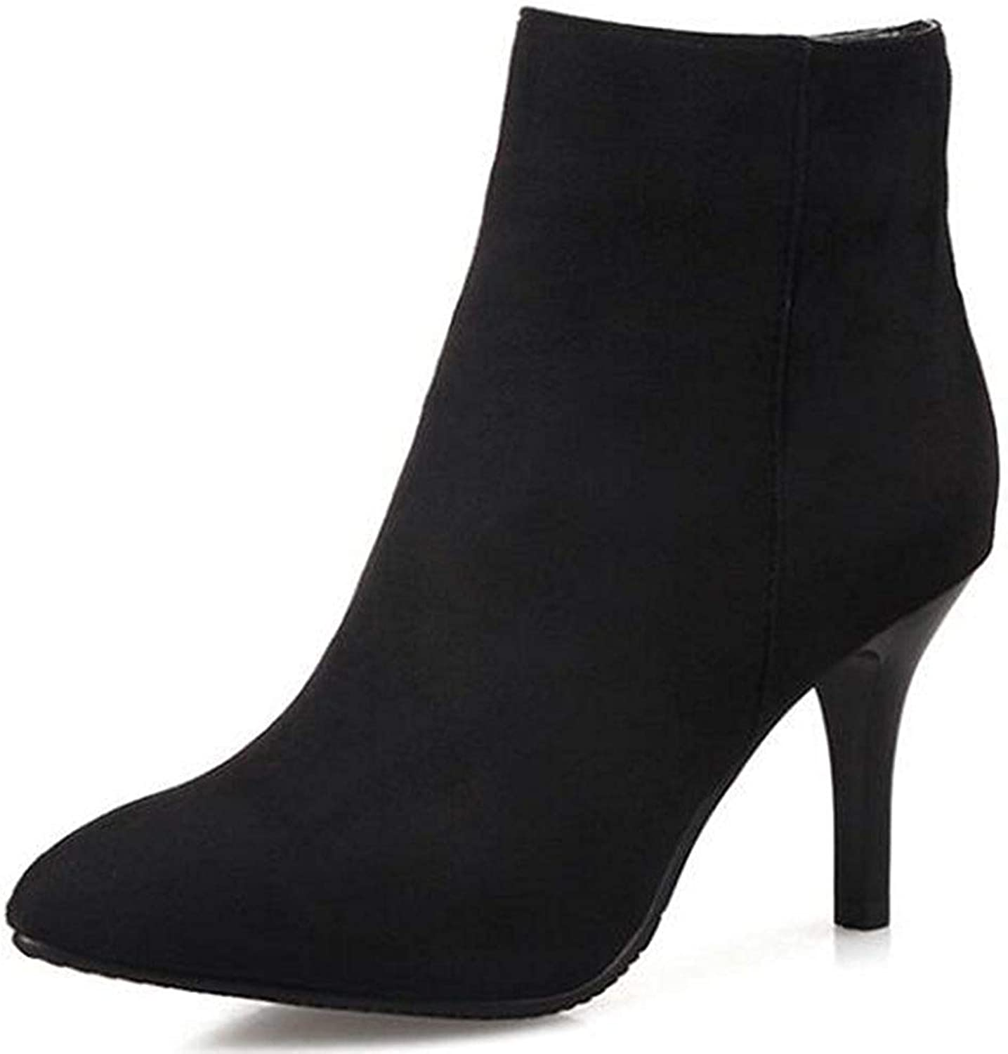 Lelehwhge Women's Sexy Pointed Toe Size Zipper Booties Stiletto High Heel Ankle Boots bluee 10.5 M US