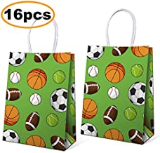 16 PCS Sport Birthday Party Supplies Birthday Favor Gift Bags for Kids, including Soccer Baseball Basketball Football Sports Themed Design Birthday Party Decorations, 5.9 * 3.2 * 8.3 inch