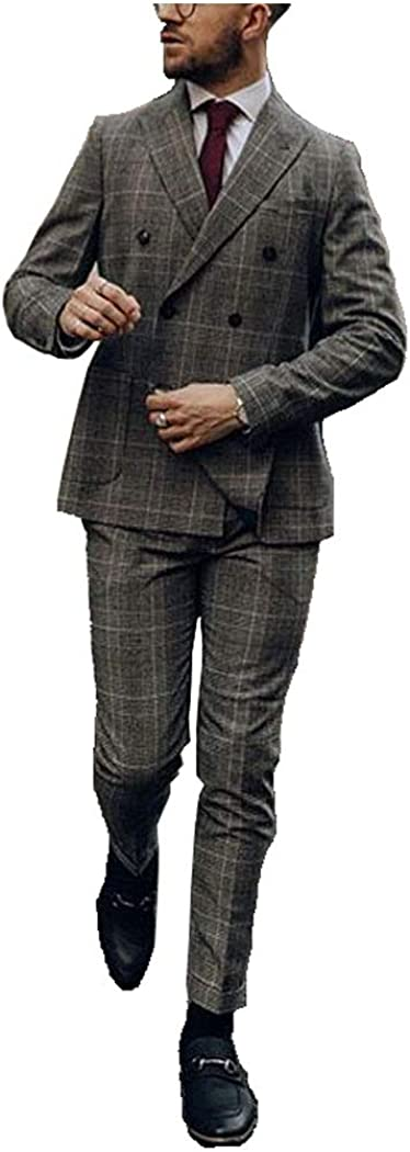 Men's Plaid Suit Factory Sales of SALE items from new works outlet 2 Pieces Regular Fit Patch Breasted Pock Double