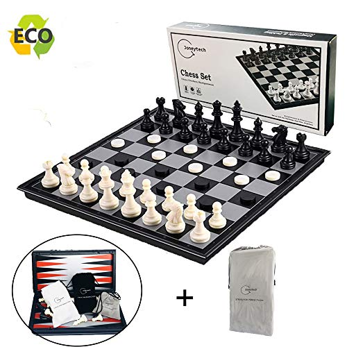 Magnetic Chess Set for Kids and Adults, 12.5 inch Travel Portable Folding Chess Sets with 3 in 1 Chess Checkers and Backgammon Best Gift for Children Board Game