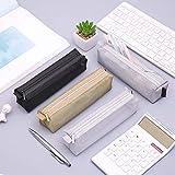 KingbeefLIU Unisex Simple Color Sólido Cremallera Transparente Malla Estuche De Lápices Bolso De Almacenamiento De Bolígrafos Gran Capacidad Simple Papelería Estuche De Lápices Negro