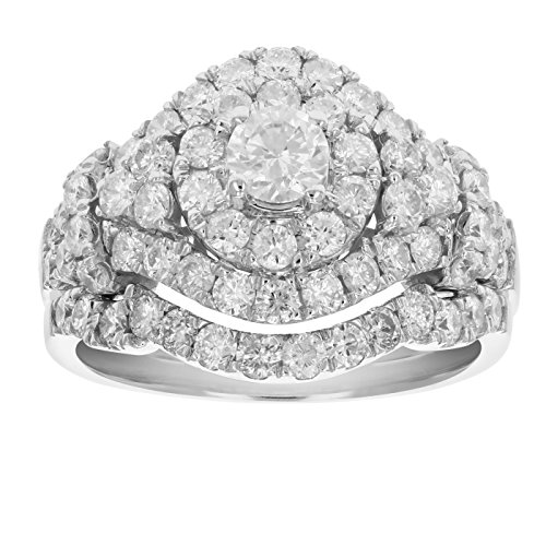 2 cttw Diamond Wedding Engagement Ring Set 14K White Gold Cluster Bridal Design Size 5