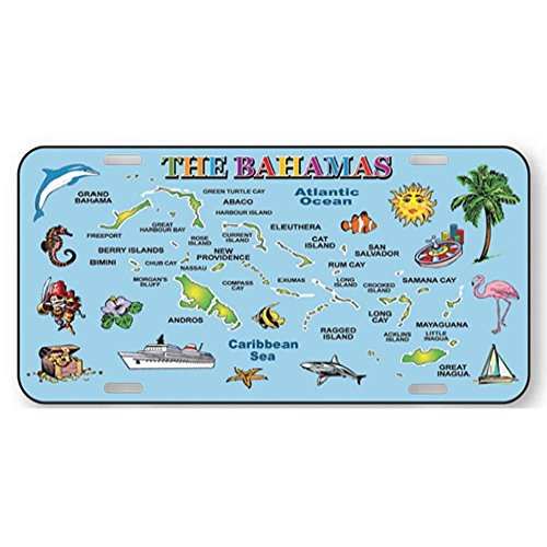 Rockin Gear targa 15,2x 30,5cm Dimensioni auto ufficiale metallo Caraibi isole souvenir oceano blu mappa targa Bahamas