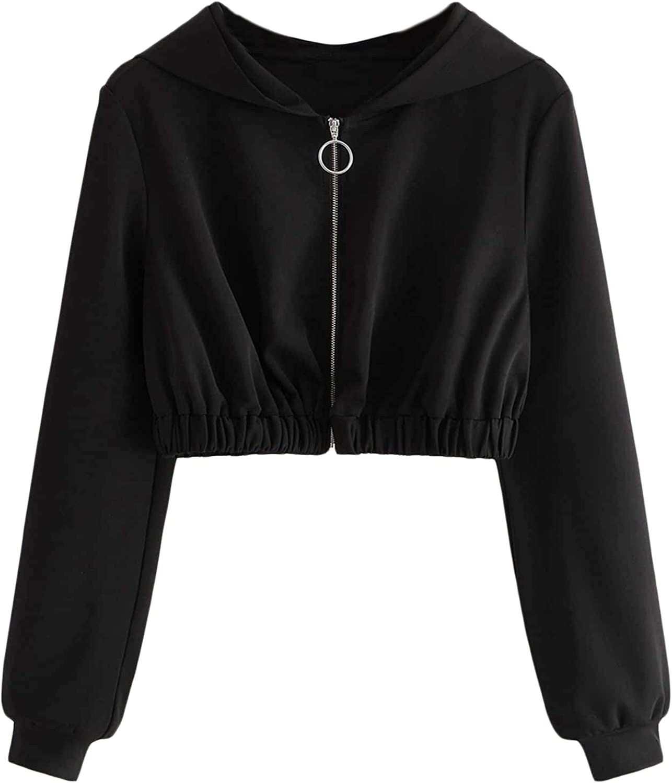 SOLY HUX Women's Plus Size Long Sleeve Zip Up Crop Hooded Sweatshirt Jacket