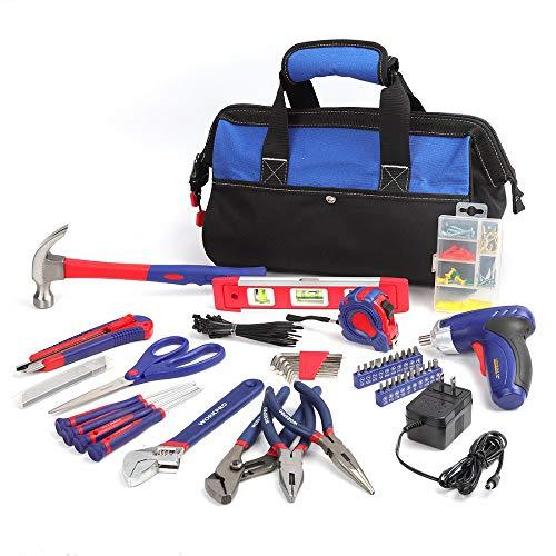 SISHUINIANHUA Tool Kit Home Reparatur-Tools Set mit 3.6V Akkuschrauber und Werkzeugtasche 125-Stück Hand-Werkzeug-Set