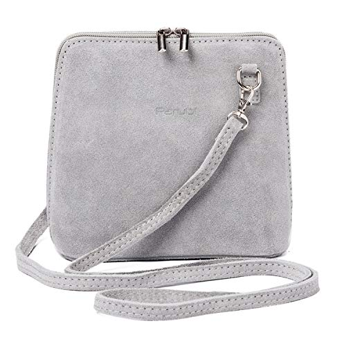 Parubi, Umhängetasche für Damen, aus echtem Veloursleder, Made in Italy, Modell Alina 4.0, kleine Handtasche Schultertasche Ledertasche Abendtasche, Clutch für Damen Mädchen Elegant, Grau