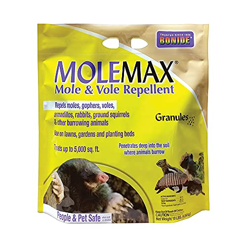 Bonide (BND692150) - Molemax Mole & Vole Burrowing Animal Repellent, Rodent Repellent Granules (10...