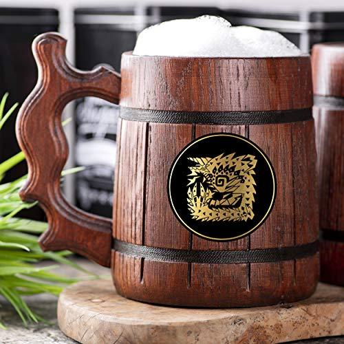 Monster Hunter World Zinogre Wooden Beer Mug. Personalized MHW Beer Mug. Gamer Mug. Monster Hunter Tankard. Gift For Him. Beer Stein Wood Gamer Gift. Gift For Husband #227/0.6L / 22 ounces