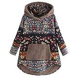 feftops Empalme Suéter Mujer Talla Grande Floral Largos Invierno Vestir Jerséis Sudaderas Elegante Tops Jersey con Capucha Suelto Blusa Casual Abrigo