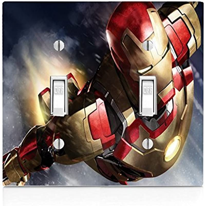 Comic Book Hero Double Light Switch Plate