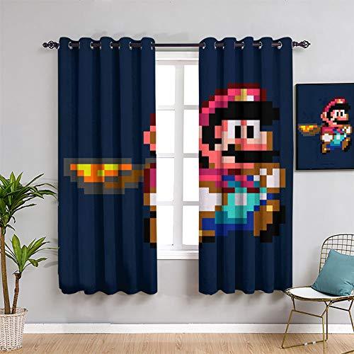 ICONIC MARIO WORLD Super Mario Cortinas opacas para dormitorio o ventana cortina cortina cortina cortina cortina cortina cortina de 106 cm x 107 cm