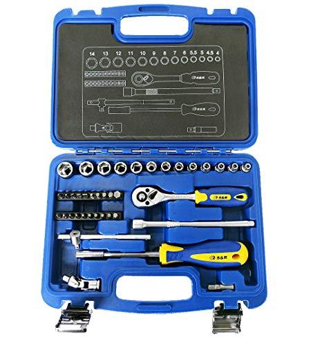 S&R Set chiavi a Bussola 1/4' 39 pz con: Cricchetto 1/4' + Giravite + Manico-T + Prolunghe + Punte Giravite