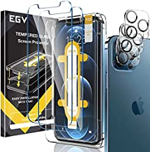 7 Pack EGV 3pcs Screen Protector & 3pcs Camera Lens Protector & 1pcs Installation Tray Compatible with iPhone 12 Pro 6.1-inch, Tempered Glass, HD Clear, Case Friendly