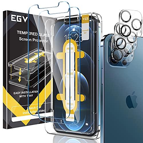 EGV Pellicola salvaschermo compatibile con iPhone 12 Pro 6,1 pollici, 3 pellicole in vetro temperato, 3 pellicole protettive per obiettivo della fotocamera 1 pezzo di cornice di facile installazione