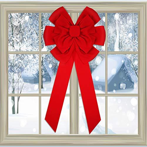 Weihnachten Rote Samt Schleifen Weihnachten Dekorative Bögen Weihnachtsbaum Bogen Große Weihnachtsbogen für Weihnachten Innen- und Außen Dekorationen, 18 x 36 Zoll (2 Stücke)