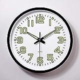 XYQY 12 Pulgadas Moon Luminous Classic Vintage Relojes de Pared Circular Relojes de Cuarzo Decoración para el hogar Decoración de Dormitorio 12 Pulgadas Negro