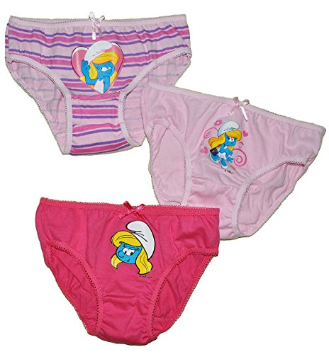 alles-meine.de GmbH 3 TLG. Slip / Unterhosen - Schlumpfine - Größe 6 bis 8 Jahre - Gr. 122 bis 140 - 100 % Baumwolle - für Kinder Pants Unterhose Slips die Schlümpfe / Schlumpf M..