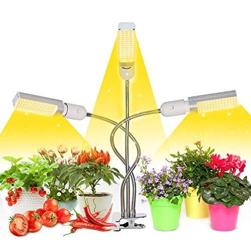 72W Lampada per Piante, Upgrade Grow Light Full Spectrum, 3 Pack Grow Bulbs, Lampada da coltivazione e doppia testa con bulbo sostituibile E27/E26 per semina, crescita, fioritura e fruttificazione