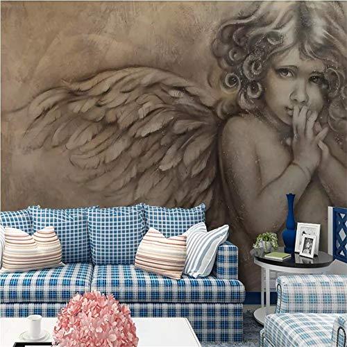 Tapeten Wandbild Hintergrundbild FototapeteBenutzerdefinierte Tapete Europäischen 3D Geprägt Wenig Engel Hintergrund Wandmalerei Tapeten Wohnkultur Papel De Parede, 250 * 175 Cm