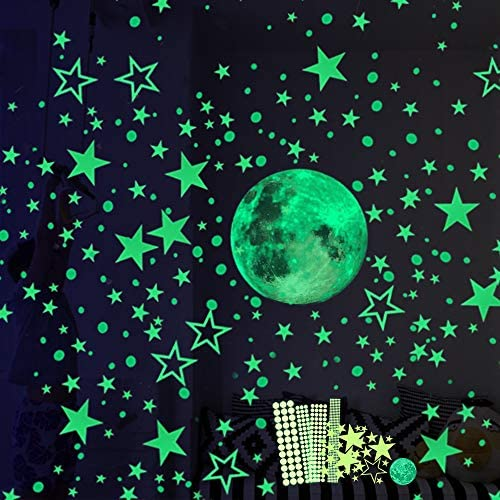 Hauserlin 435pcs Glow in The Dark Stickers Luminous Dots Stars and Moon Wall Stickers Decor product image