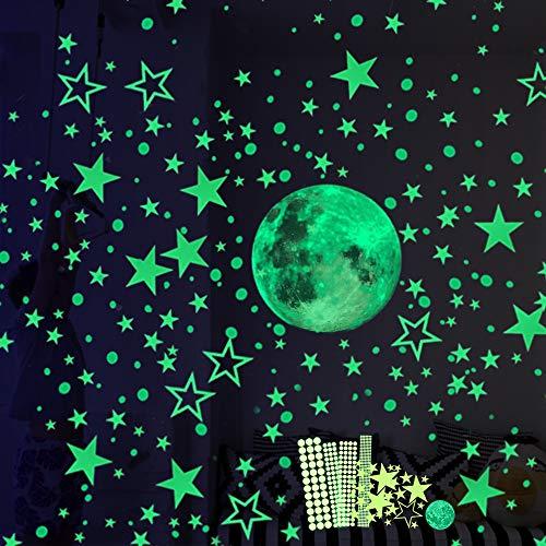 Luminoso Pegatinas de Pared, 30cm Luna y Estrellas Puntos 435 Pzas, Fluorescente Decoración de Pared para Dormitorio de Niños, DIY Decoración de la Habitación Para Chico Niña Bebé, Casa Interior Mural