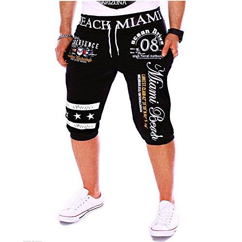 2020 Nouveaux Short Homme Coton Bermudas Pantalon Court De Mode pour Hommes Slim Fit Casual Jogging avec Cordon De Serrage Taille élastique Pantalon De Sport Lâche Impression Numérique Pantacourt