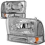 4Pcs Chrome/Amber Corner Headlights+Bumper Lamps Compatible with Ford F-250 F-350 F-450 F-550 Super Duty Excusion 99-04