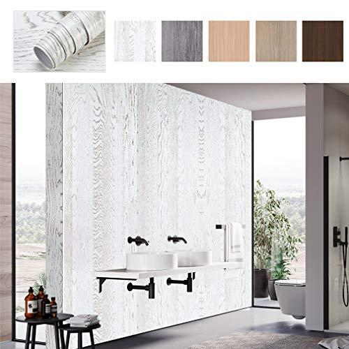 PROHOUS Holz Möbelaufkleber Klebefolie Holzoptik Möbelfolie 0.61 * 5M Tapete Weiß Selbstklebende PVC Küchenfolie Aufkleber Schneidbar für Möbel Küche Kommode Schrank Tisch Verschleißfest