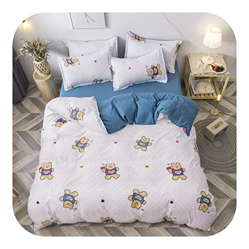 leaf-only Bed Sets, Cartoon Cute Cat Bedding Set Home Textile Bed Cover Set Children Students Bedding Bedclothes Twin Soft Comforter Duvet Cover Set-No.1-Flat Bed Sheet,180x220cm(4pcs)