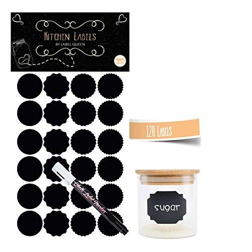 120 Hochwertige Küchenetiketten rund für Einmachgläser in Matt Schwarz Tafelletiketten Gewürzaufkleber, Marmeladenaufkleber zum Beschriften 5 Bögen á 24 Aufkleber + 1 Kreidemarker in Weiß