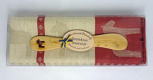 Skandinavisk Hemslöjd Geschenkset schwedisches Holzmesser(Laser-Cut) u. Handtuch (rot/Dalapferd)
