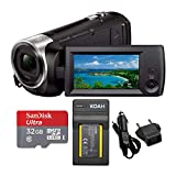 Sony HDRCX440 Handycam HD Camcorder with 32GB SD Card and Battery Bundle (3 Items)
