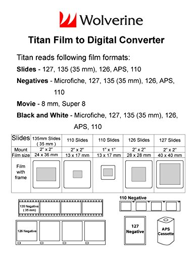Wolverine Titan 8-in-1 High Resolution Film to Digital Converter with 4.3' Screen and...