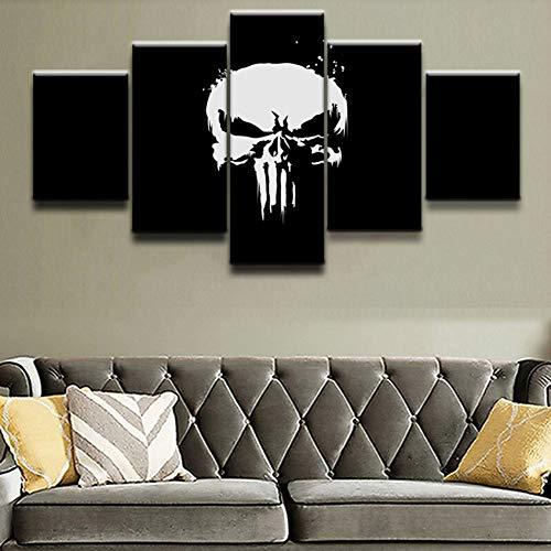 ADGUH LeinwanddruckeDie Punisher Film Wandkunst Leinwand Malerei HD Druck 5 Stück Leinwand Wandkunst Wohnzimmer Malerei Wohnkultur Bild KunstwerkDrucke auf Leinwand