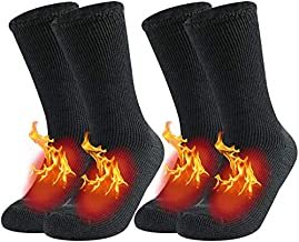Men's Warm Thermal Socks,JSPA Winter Fur Lined Boot Heavy Heat Fuzzy Insulated Heat Thick Working Socks for Cold Extreme Temperature,Skiing Hiking Trekking Socks 2 Pairs Dark Grey Large
