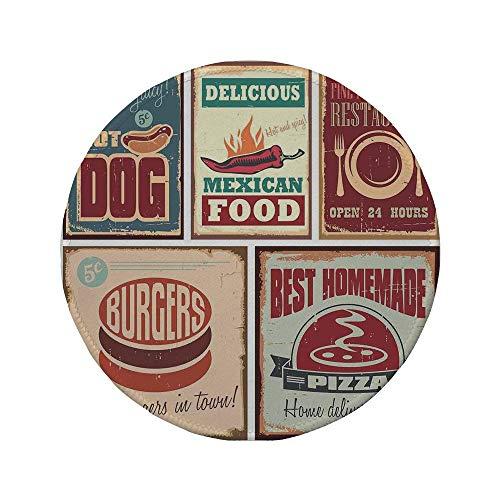Rutschfreies Gummi-rundes Mauspad Dekor der 1950er Jahre nostalgische Blechschilder und Retro-mexikanische Lebensmitteldrucke im Alter von Advirtising Logo Style Artistic Design Multi 7,87 'x 7,87