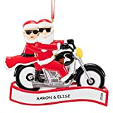 Personalized Motorcycle Mr & Mrs Claus Couples Christmas Ornament (Kool Santa and Miss Claus)