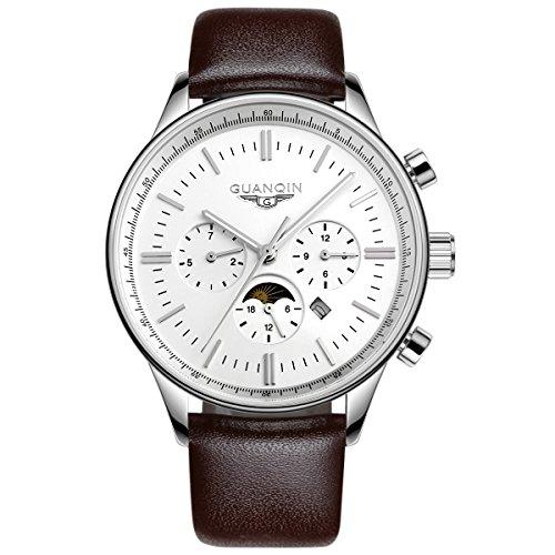 Guanqin Herren Uhr Analog Quartz mit Leder Armband GQ12003 Silber Weiß
