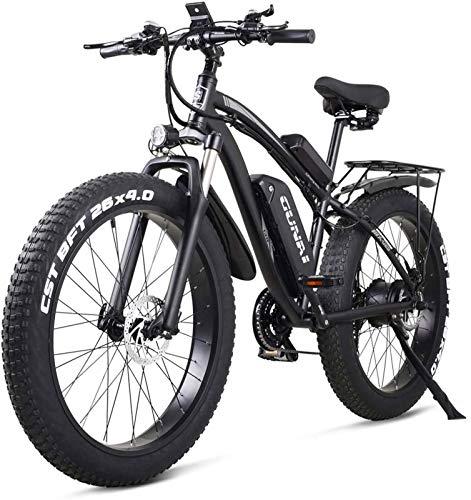 RDJM Bciclette Elettriche, Biciclette for Adulti Elettrico Fuoristrada Fat Bike 26 4.0 Tire E-Bike Mountain 1000W 48V Bici elettrica con Sedile Posteriore e Rimovibile Batteria al Litio