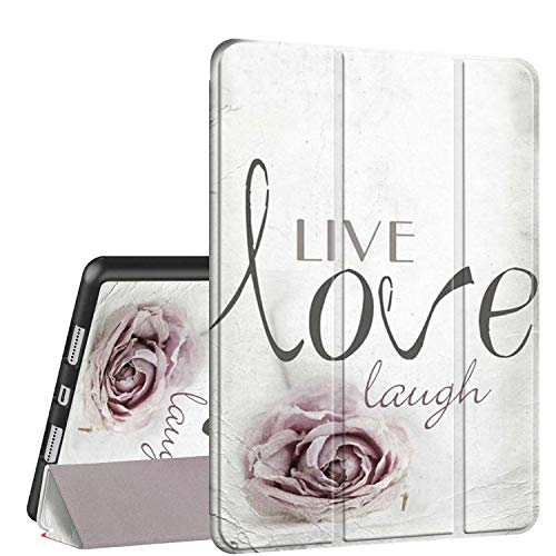 iPad 9.7 2018/2017 Case,iPad Air 2/Air Case, Rossy PU Leather TPU Shock Trifold Stand Folio Smart Cover with Auto Wake/Sleep & Pencil Holder for Apple iPad 6th/5th Gen,Live Laugh Love with Rose